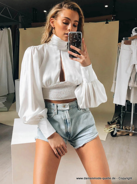Sexy Crop Top Bluse 2020 in Weiß