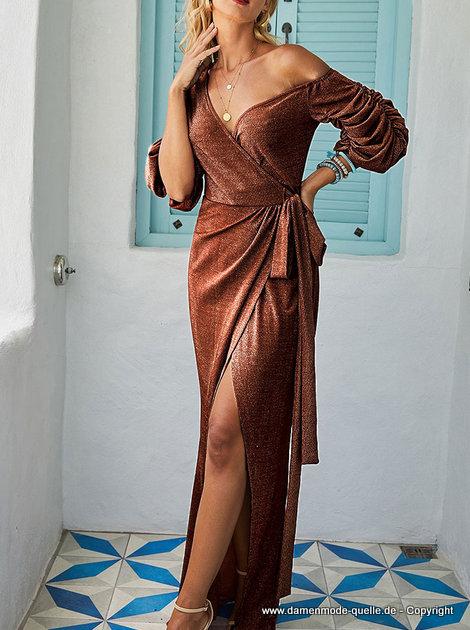 kleider 2021  sexy cut out glitzer langes abendkleid in