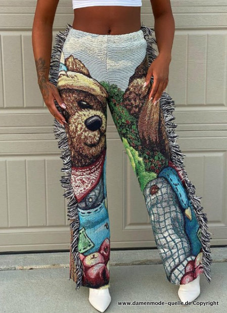 Cartoon Print Damen Hose Gr L