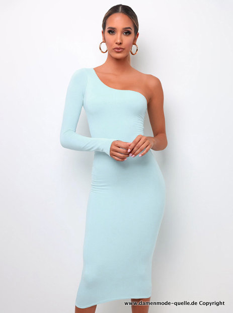 Sexy One Shoulder Etui Kleid in Hellblau Gr L