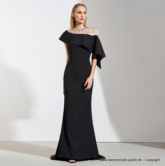 Bodenlanges Perlen Abendkleid in Schwarz