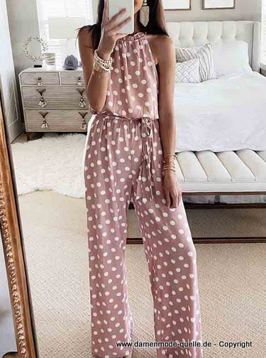 Ärmelloses Sommer Chiffon Overall 2020 Jumpsuit mit Punkte