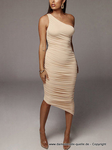 Asymmetrisches One Shoulder Bleistift Kleid 2020 in Beige