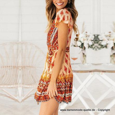 Orange Blume Einschultrig Rüschen Maxi Kleid Freizeit Sommer Urlaub Kleid XS-3XL