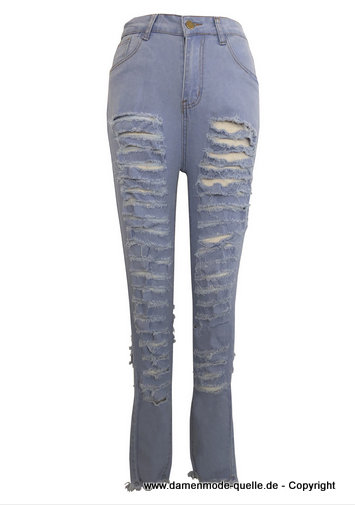 Cut Out Ripped Damen Jeans