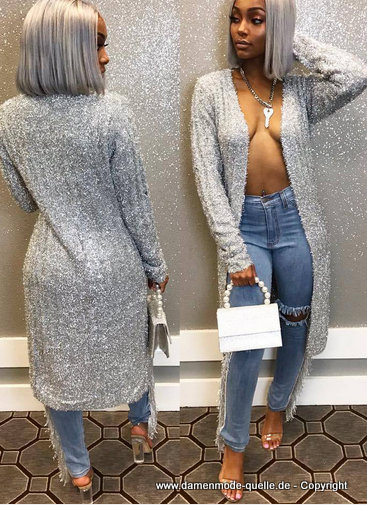 Fashion Glitter Langarm Long Cardigan 2020