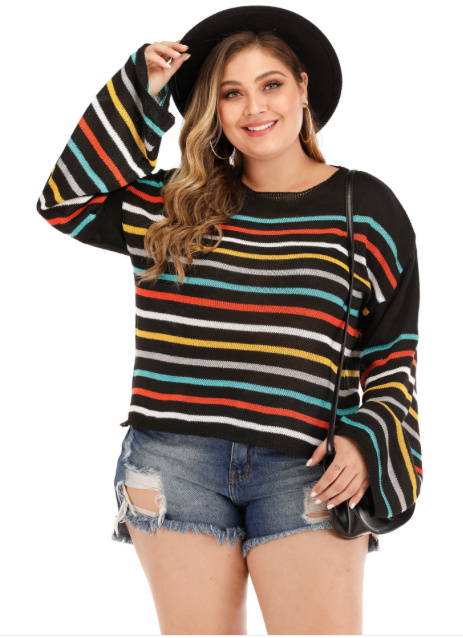 Fashion Langarm Strick Pullover bis 3XL
