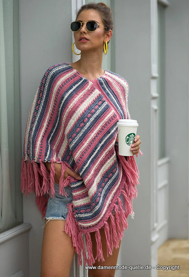 Kaschmir Strick Poncho Cape 2020 in Rosa