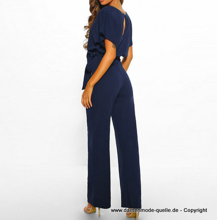 Kurzarm Sommer Overall Jumpsuit 2020 Elegant in Blau