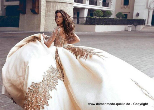 Luxus Brautkleid 2020 in Champagne mit Applikationen