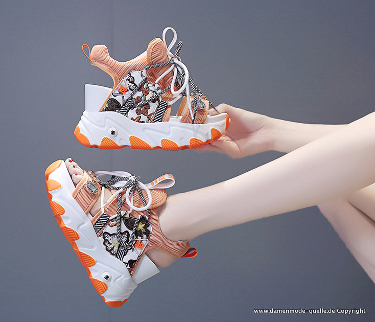 Open-Toe Strass Sport Sommer Sandalen mit Blumen in Orange