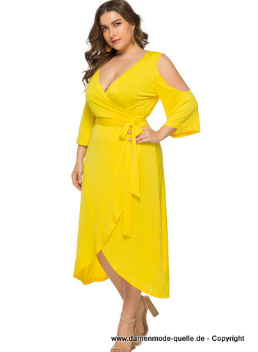 Plus Size Curvy Cut Out Sommerkleid 2020 in Gelb