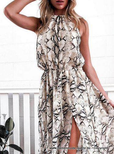 Schlangen Print Sommer Cut Out Maxikleid 2020 Lang