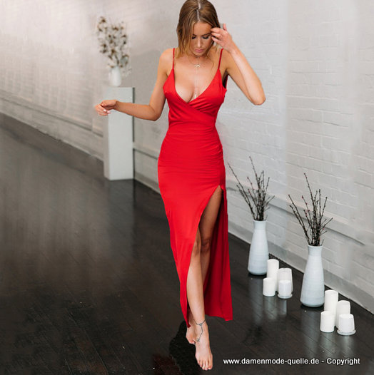 Sexy Cut Out Bodycon Sommerkleid 2020 in Rot