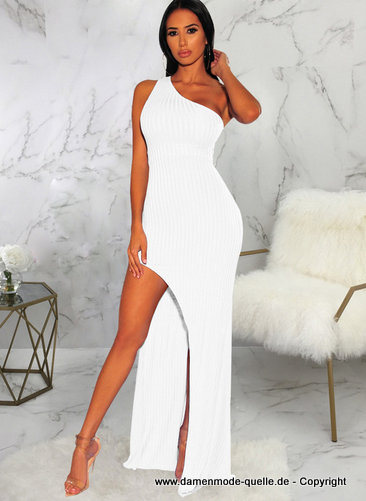 Sexy Cut Out One Shoulder Kleid 2020 in Weiss