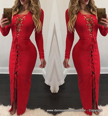 Sexy Lace Up Maxikleid 2020 in Rot