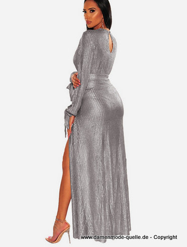 Sexy Langarm Maxi Kleid 2020 in Silber