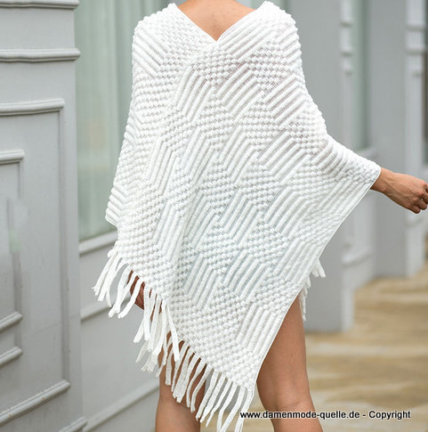 Strick Damen Poncho 2020 in Weiss