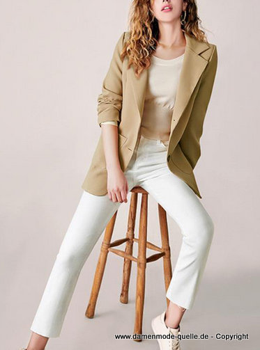 Einreiher Business damen Blazer 2020 in Beige Creme
