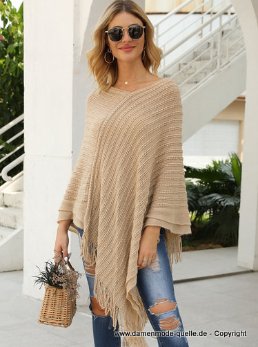 Damen Strick Poncho in Beige Creme