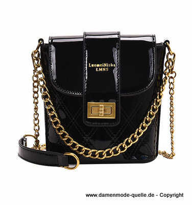 Lackleder Twist Lock Handtasche 2020 mit Goldkette