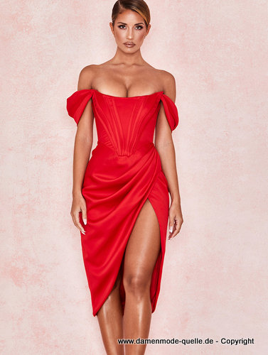 Sexy Cut Out Cocktailkleid Schulterfrei in Rot
