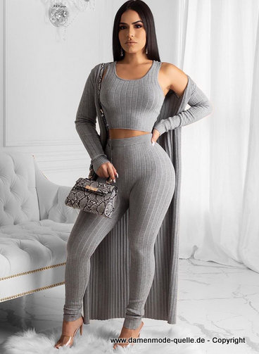 Damenoutfit Crop Top + Hose + Cardigan im Set Silber