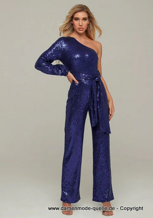 One Shoulder Glitzer Pailletten Overall 2020 Jumpsuit Elegant in Blau