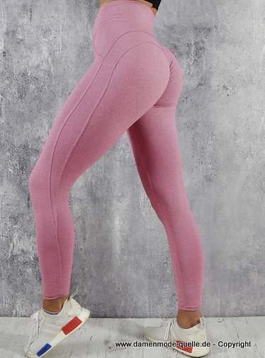 Lange Yoga Hose Leggings in Rosa