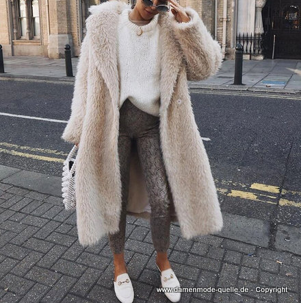 damen oberbekleidung  lange teddy plüsch mantel 2020 in beige  damenmode günstig online kaufen