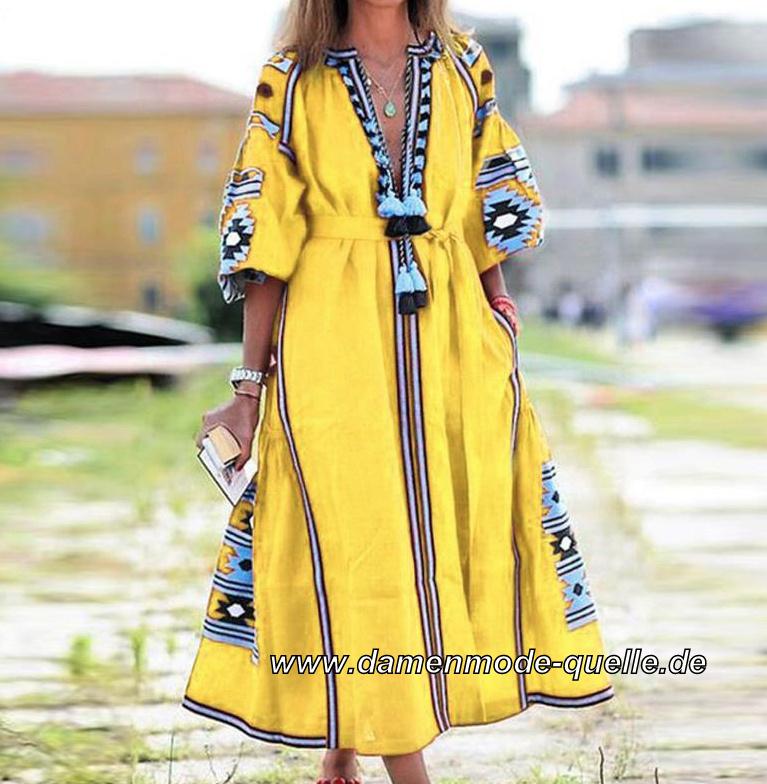 Kleider 2021   Boho Style Langarm Kleid mit V Ausschnitt ...
