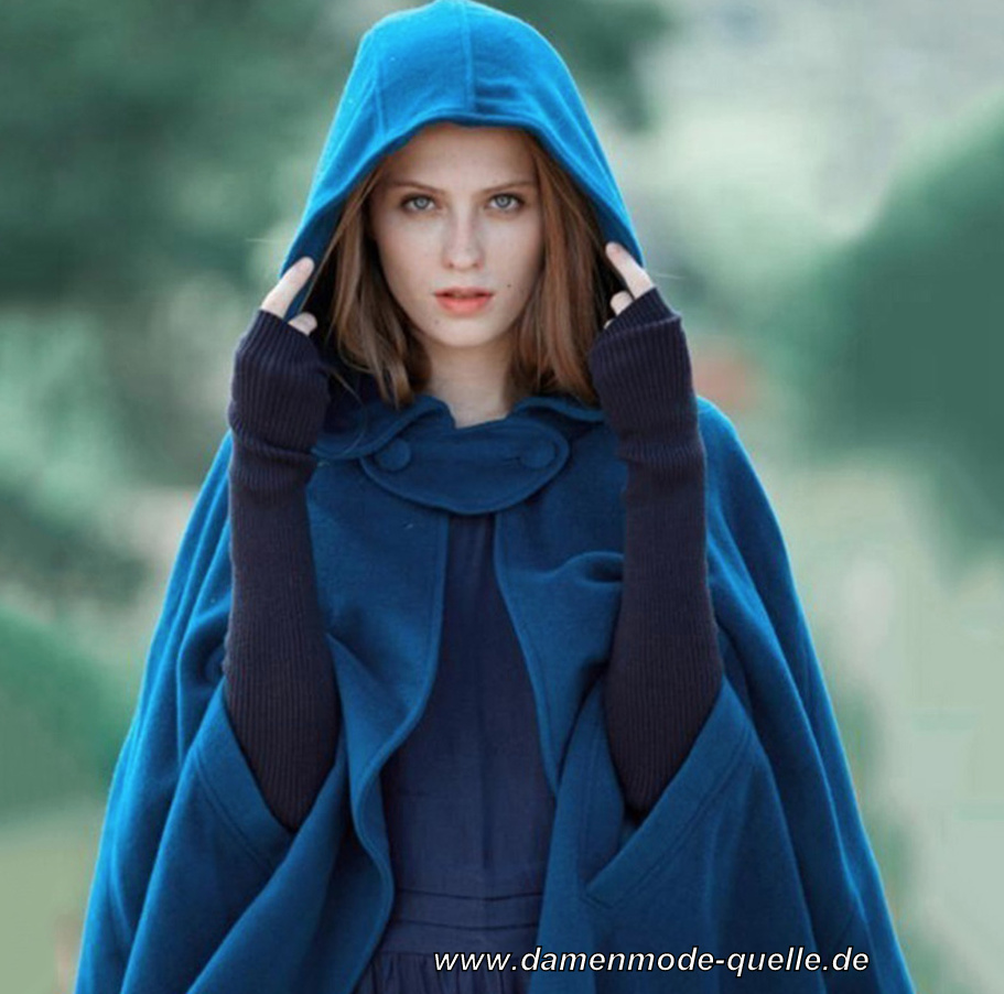 Vintage Style Wintermantel Cape mit Kapuze in Blau