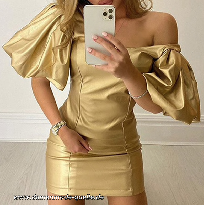 Kurzes Mini Bodycon Kleid Cocktailkleid in Gold