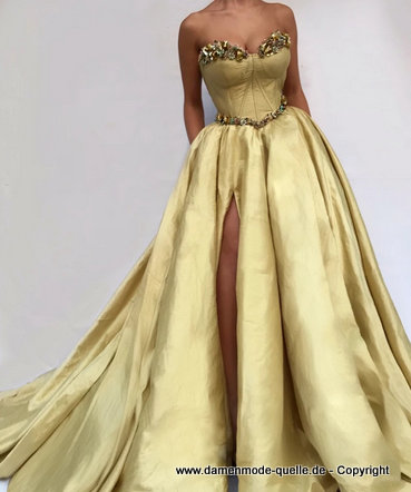 A-Linie Taft Kristall Cut Out Abendkleid 2020 in Gold