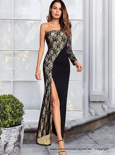 Kleider 2020 One Shoulder Langarm Abendkleid 2020 Mit Spitze Festlich Damenmode Gunstig Online Kaufen