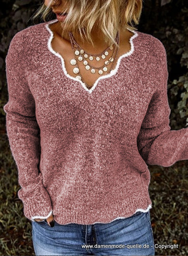 Fashion Langarm Strickpullover 2020 in Rosa