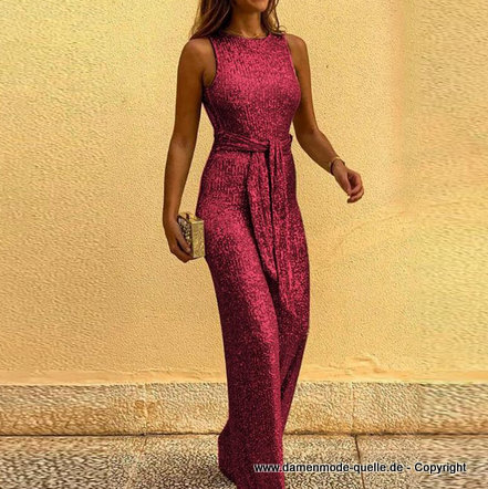 Glitzer Pailletten Overall 2020 Jumpsuit in Rot