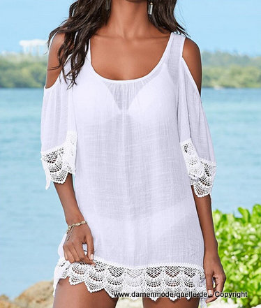 Cut Out Spitzen Sommer Strandkleid 2020 Weiß