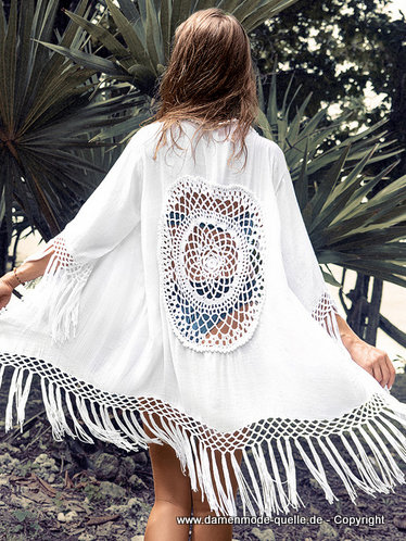 Sommer Strand Kimono 2020 in Weiss