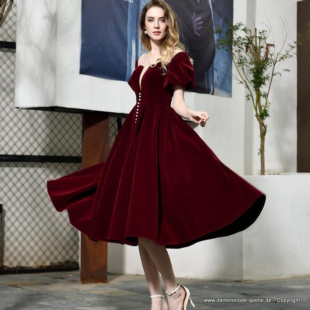 Kleider 2021 Vintage Style Gala Abendkleid Wadenlang In Weinrot Damenmode Gunstig Online Kaufen