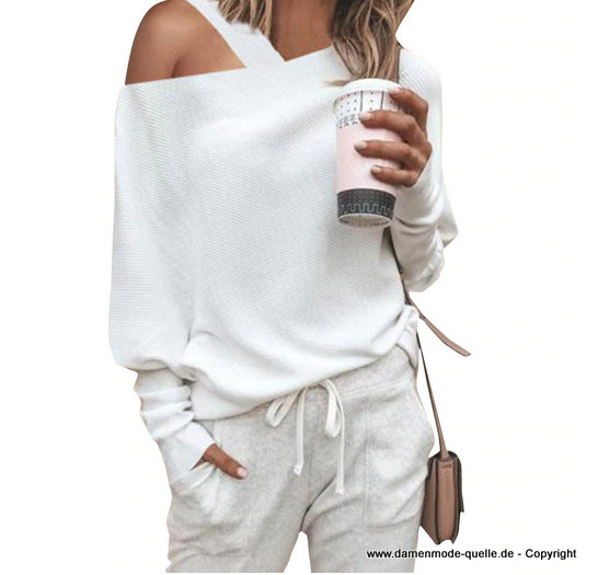 Cut Out Langarm Shirt 2020 Sexy in Weiss