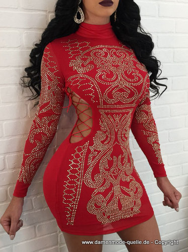 Sexy Mini Strass Deko Kleid 2020 in Rot