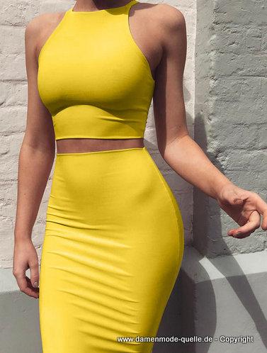 neuheiten  sexy sommer outfit für damen crop top mit bodycon rock in gelb  damenmode günstig