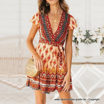 Kleider 2021 | Boho Style Blumen Print Mini Kleid 2020 ...