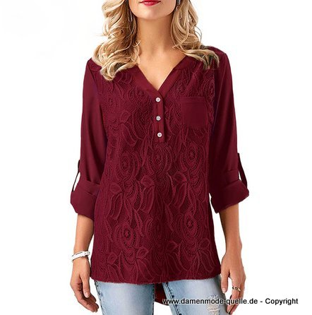 Plus Size Chiffon Bluse 2020 mit Stickereien in Weinrot