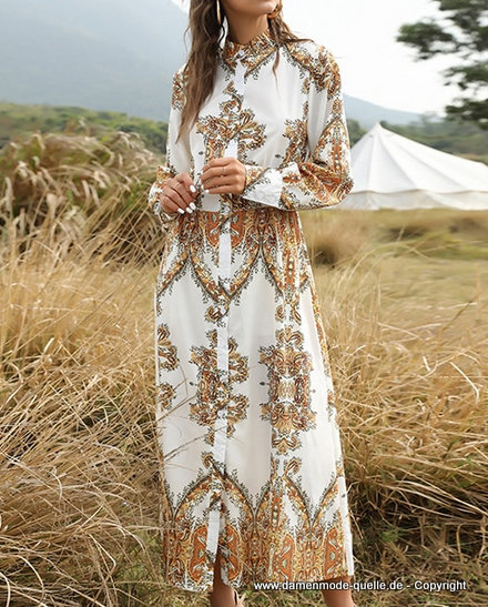 Kleider 2021 | Bohostyle Vintage Print Langarm Maxi Kleid ...