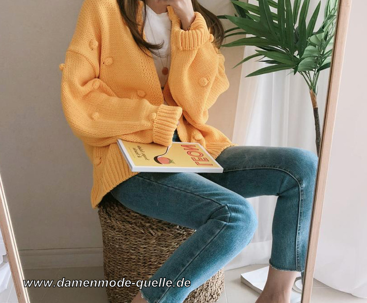 Nette Herbst Winter Pullover Strickjacke für Damen in Gelb
