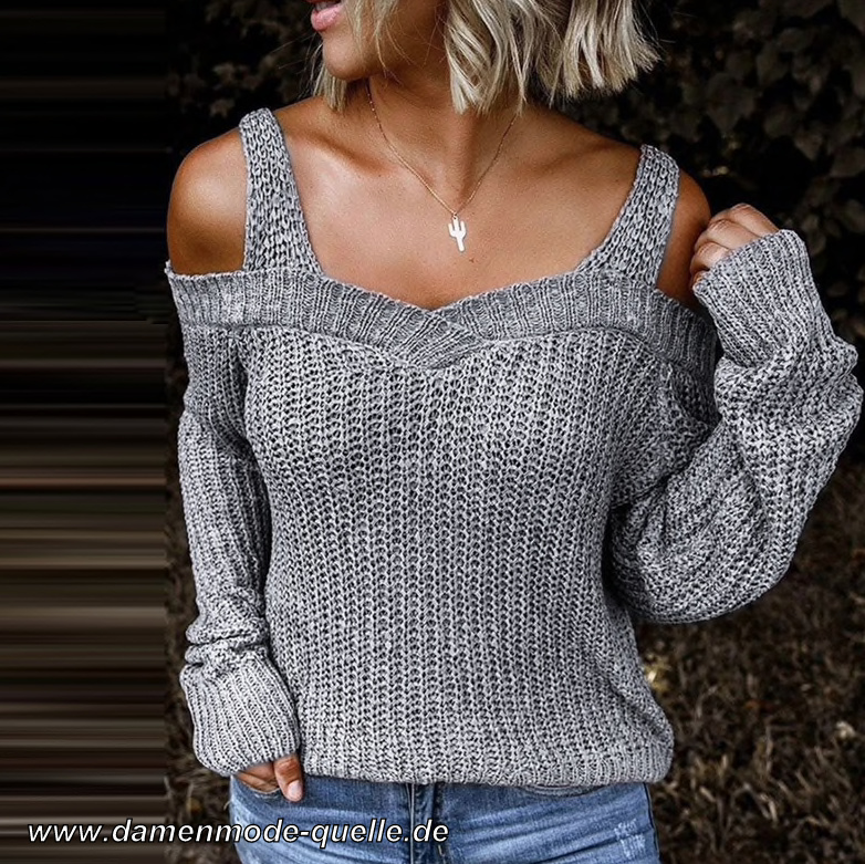 Sexy Cut Out Pullover für Damen in Silber