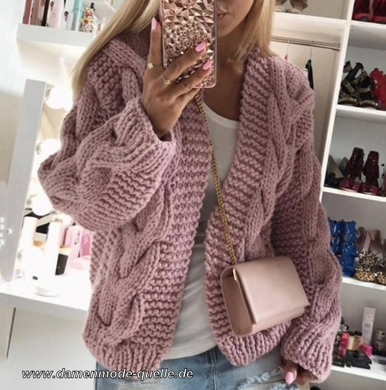 Warme Winter Pullover Cardigan für Damen i Lachs
