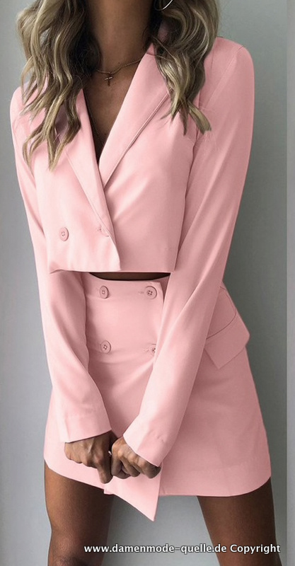 Slim Fit Damen Kostüm mit Minirock in Rosa